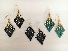 Handmade Rhombus Earrings Miyuki Delica Beads by BellaJocalia