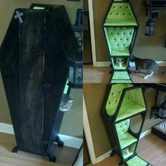 Deluxe cat bed coffin by From 4 to 1 Creations