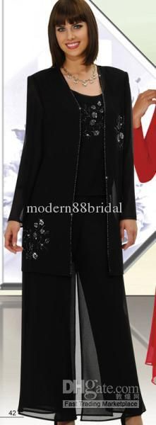 Wholesale Mother of the Bride Pant - Buy Hot Sale Elegant Black Chiffon With Long Sleeves 3pc Sequins Mother Of the Bride Pant Suits Mother Dress 20, $109.0 | DHgate