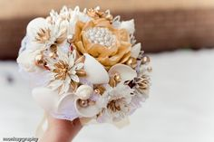 Beautiful brooch bouquet by the Hairbows Wonderworld Etsy Store - love their bouquets!