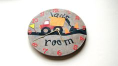 personalized childrens clockDump truck zone by happybluedragonfly, $32.99