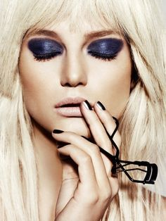 Chanel Cosmetics by photographer Mateusz Stankiewicz for Viva Moda. Gorgeous combination of Navy blue eyeshadow with super light blonde hair.