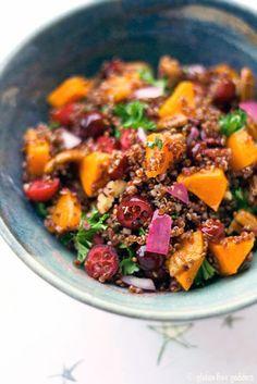 red quinoa w/ butternut squash + ruby cranberries • gluten free goddess