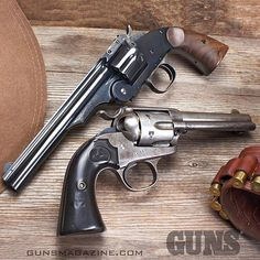 "#throwbackthursday old meets older -- the modern reproduction of the S&W Schofield .45 on top and an antique Colt Bisley ""Frontier Six Shooter"" below. Both best enjoyed in their natural state without mods. Read why in the December 2016 issue of GUNS Magazine by following our profile link. --------- #gunsmagazine #guns #igmilitia #gunpics #gunstagram #gunsofinstagram #righttobeararms #secondamendment #bisley #schofield #singleaction #45 #americanmade #merica #murica #waybackmachine"