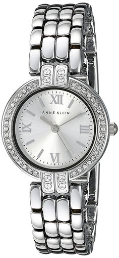 Anne Klein Women's AK/1893SVSV Swarovski Crystal Accented Silver-Tone Bracelet Watch * See this great watch.