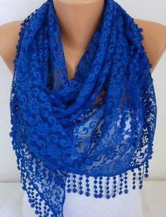 ON SALE  - Royal  Blue Lace Scarf -  Shawl Scarf Women Scarves Cowl Scarf Bridesmaid Gift - fatwoman