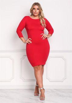 Plus Size Clothing | Plus Size Jersey Knit Bodycon Dress | Debshops