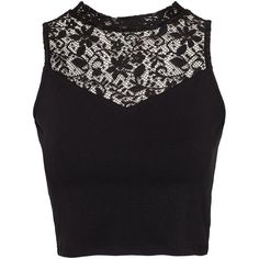 Nly Trend Cropped Lace Highneck Top (34 BAM) ❤ liked on Polyvore featuring tops, shirts, crop tops, black, womens-fashion, sheer shirt, high neck top, sheer crop tops, high neck lace top and crop shirt