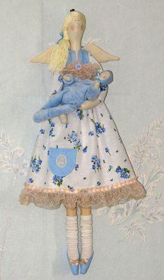 "Tilda Doll. Mum with a newborn baby. Height 22,8 "" . Handmade."