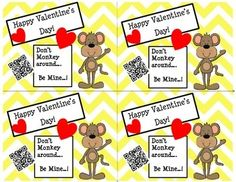 Valentine's Day Cards (Chevron/Monkey) with Fun QR Codes Pre K - 2nd $ So cute and kids will love! There are MANY different Valentine's Day cards to choose from. If you would like to see more, go to our store (QR Queens) and click Valentine's Day Cards under Custom Categories on the left.