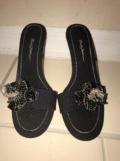 c48e8b678c9c Beverly Feldman Black Beaded High Heel Slides Sz 8M ! New #BeverlyFeldman  #KittenHeels #