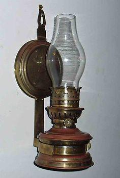 ANTIQUE AUSTRALIAN c1940 PRESSED COPPER & BRASS KEROSENE OIL WALL OR TABLE LAMP