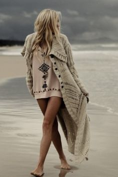 Love the combination for a chilly day at the beach - SJ