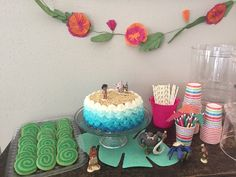 Moana Themed Birthday Party Ombré Wave Cake and Heart of Te Fiti Cookies by The Sugar Llama