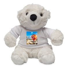 Personalised Polar Bear with a 'KEEP CALM AND lISTEN TO TOMAS LEDIN' design.  Soft & fluffy white polar bear in a t-shirt that you can customise with your own text or image!