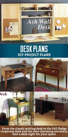 Want to make your own desk? These diy desk plans can help you on your way. With a range of desk styles from traditional writing desks to corporate desks and less common wall or secretary desks.   #plans #diy #desk