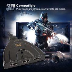 4K Ultra HD 3 Port 1080P HDMI AUTO Switch Splitter Switcher TV HUB Box Cable NEW #UnbrandedGeneric