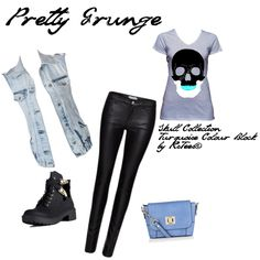 // Pretty grunge // skull tee // rstees // outfit // edgy // fashion