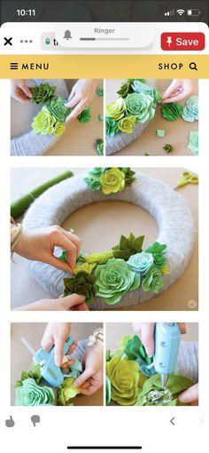 Flower Diy, Diy Flowers, Wreath Crafts, Diy Crafts, Cactus Craft, Felt Succulents, Tableware, Dinnerware, Make Your Own
