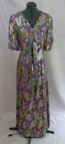 Vintage 70s Purple Metallic Silver Lame Hippie Abstract Maxi Dress 40 Bust L | eBay