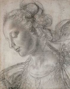 Andrea del Verrocchio, c.1435-1488, Italian, Study of an Ideal Female Head, n.d.  Black chalk, white heightening, outlines pricked, 40.8 x 32.7 cm.  Oxford, Christ Church.  Early Renaissance.