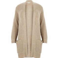 River Island Plus beige knit sequin cardigan ($80) ❤ liked on Polyvore featuring tops, cardigans, cream, knitwear, oversized knit cardigan, brown cardigan, plus size long sleeve tops, plus size cardigans and thick knit cardigan
