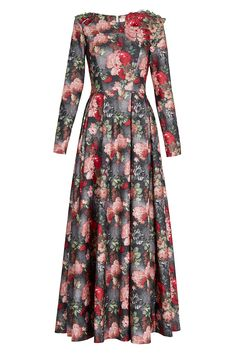 Flower print maxi dress with long sleeve Beautiful Gown Designs, Beautiful Gowns, Simple Long Dress, Simple Dresses, Abaya Fashion, Fashion Dresses, Floral Dress Design, Dress Picture, Muslim Women