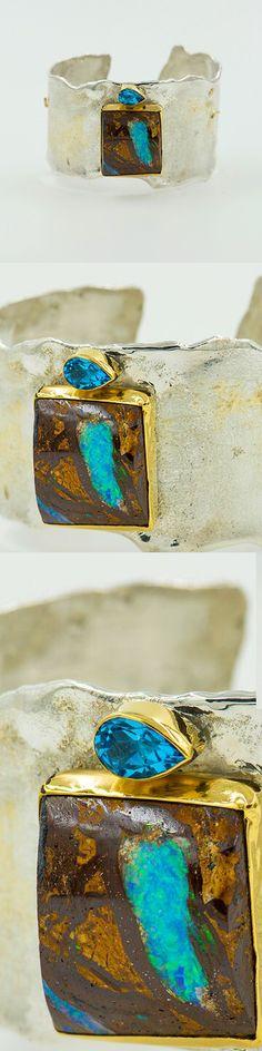 Jennifer Kalled, boulder opal cuff bracelet in argentium silver and 22k gold. Boulder opals from Bill Kasso