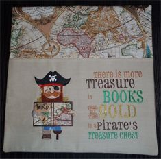 bookweek-for-beginners - home Pirate pocket reading cushion cover made by Barbara Braxton Contact to order.