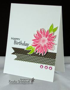 Kendra's Card Company  Flower stamped in white and embossed with white embossing powder