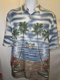 Hawaiian  Shirt Mens Medium Short Sleeve Button Front Palm Trees Croft & Barrow