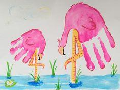 pinke Flamingos aus Handabdrücken