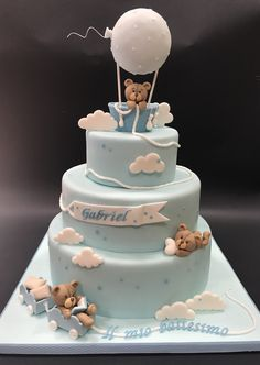 Torta battesimo orsetti Christening cake bears Get more photo about subject related with by looking Deco Baby Shower, Torta Baby Shower, Baby Shower Cakes For Boys, Baby Boy Cakes, Baby Shower Decorations For Boys, Baby Shower Balloons, Baby Shower Themes, Baby Boy Shower, Boys First Birthday Cake
