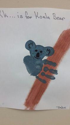> K is for Koala Bear > Koala Bear Handprint > Preschool art letter k Letter K Crafts, Abc Crafts, Bear Crafts, Alphabet Crafts, Animal Crafts, Alphabet Book, Letter Art, Kindergarten Art Activities, Preschool Projects