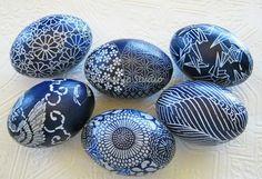 Indigo Blue Ostereier Batik-Ostereier Origami von CatnipStudioToo