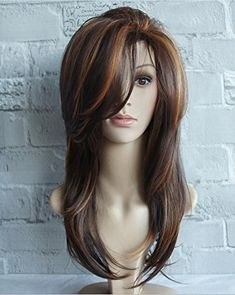 Buy Women Long Side Bang Highlighted Natural Straight Synthetic Wig - Colormix - 3353227912 and More Synthetic Wigs up to off. Long Face Hairstyles, Haircuts For Long Hair, Wig Hairstyles, Straight Hairstyles, Beautiful Hairstyles, Formal Hairstyles, Hairstyles 2016, Short Haircuts, Wedding Hairstyles