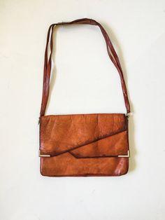 Vintage Whisky Brown Leather Purse    vintage brown leather clutch  organizer shoulder bag 2d2c1fda91b54