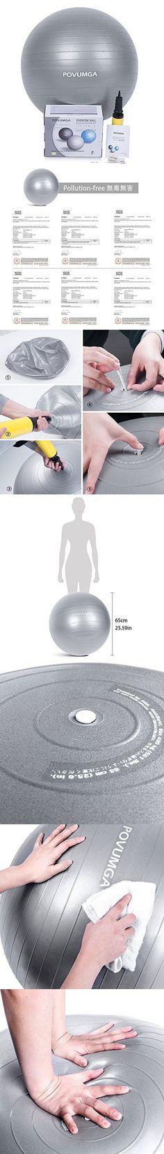 POVUMGA Exercise Balls 65cm Anti-Burst Balance Ball for Fitness, Core Stability, Yoga, Abdominal, Desk Chair, Pilates Training Birthing & Pregnancy Use Pump Included