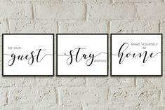 be our guest set of 3 prints, wall decor guest room printable, farmhouse guest bedroom decor, guest bedroom prints, guestroom decor wall art - Web 2020 Best Site Bedroom Prints, Bedroom Wall, Bedroom Decor, Bed Room, Bedroom Signs, Bedroom Quotes, Modern Bedroom, Girls Bedroom, Master Bedroom