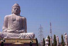 Big Buddha in a field. Bodh Gaya, Bihar