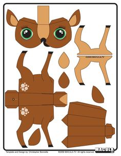 DIY Deer Paper Toy: Free Printable from Paper Toys Art.