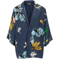 TOPSHOP Floral Print Kimono Jacket ($60) ❤ liked on Polyvore featuring outerwear, jackets, coats, coats & jackets, kimonos, blue, topshop, floral print jacket, blue kimono jacket and floral print kimono