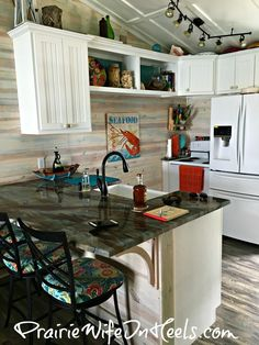 Light and airy beachy kitchen, beach homes, white cabinents, beach color pallet, The Texas Coast and Pinterest Dreams