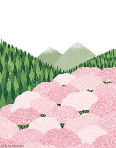 cherry blossom trees // cover illustration for Kenpo News magazine // illustration 武政 諒 Ryo Takemasa