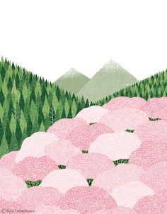 cherry blossom trees // cover illustration for Kenpo News magazine // illustration 武政 諒 Ryo Takemasa