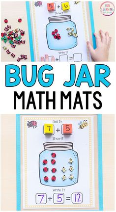These bug jar addition and subtraction mats are perfect for your insect theme or spring theme math and literacy centers! #mathfreebies #springcenters #mathcenters #bugtheme #kindergarten #firstgrade #insecttheme