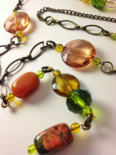 Green orange and bronze beaded necklace  long Y by MynisaUnique, $29.99