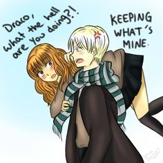 A wonderful Dramione piece by dracodormienz of Tumblr shows Draco and Hermione at Hogwarts. Ahh, young HG/DM love