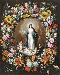 Spanish Baroque Art Garland with the Immaculate Conception