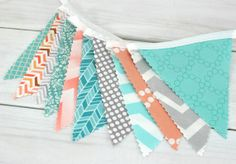 Bunting Banner, Photo Prop, Fabric Flags, Nursery Decor - Gray, Peach, Mint Green, Aqua Blue, Teal,Chevron, Dots - Ready to Ship